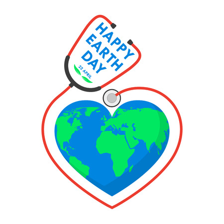 Happy Earth Day Symbol With Stethoscope Royalty Free Cliparts