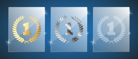 Cute glass trophy awards. Vector illustration. Three variants: golden, silver and a simple shiny glass. Vettoriali