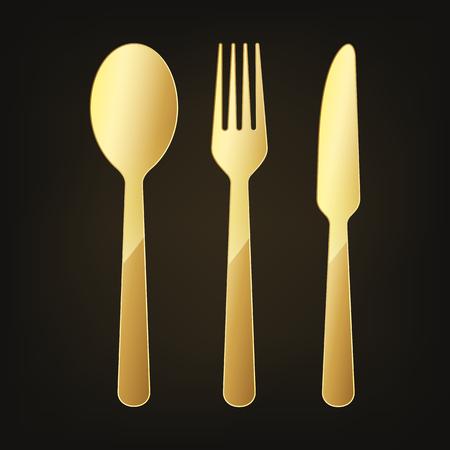 Gold Knife, fork and spoon icon. Vector illustration. Original restaurant symbol on dark background.