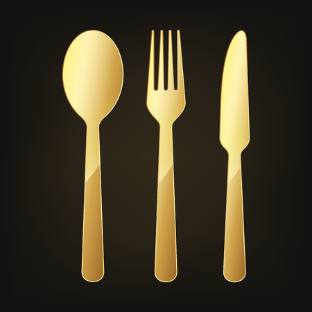 Gold Knife, fork and spoon icon. Vector illustration. Original restaurant symbol on dark background.