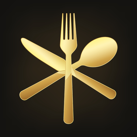 Gold crossed knife, fork and spoon. Vector illustration. Original restaurant symbol on dark background.