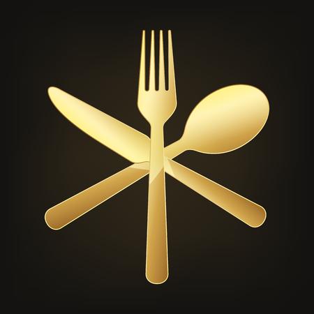 Gold crossed knife, fork and spoon. Vector illustration. Original restaurant symbol on dark background.