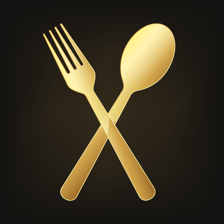 Gold crossed fork and spoon. Vector illustration. Original restaurant symbol on dark background. Ilustracja