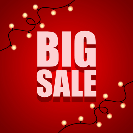 Big Sale abstract red banner with light bulbs. Vector illustration. Big Sale offer poster.