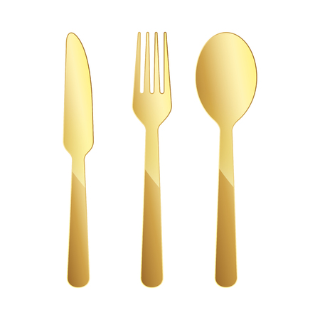 Gold Knife, fork and spoon icon. Vector illustration. Original restaurant symbol on white background.