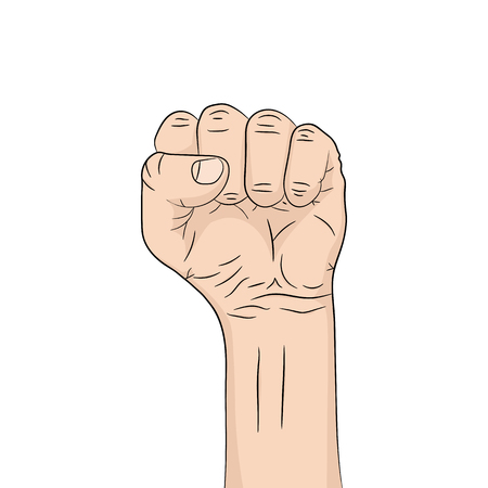 A pop art cartoon fist in flat design. Vector illustration. Pop art fist up, isolated on white background