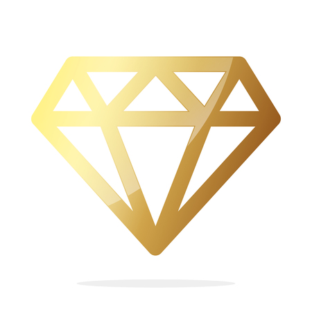 Gold diamond icon. Vector illustration. Golden diamond, isolated on white background.