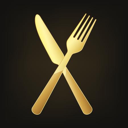 Gold crossed knife and fork. Vector illustration. Original restaurant symbol on dark background.