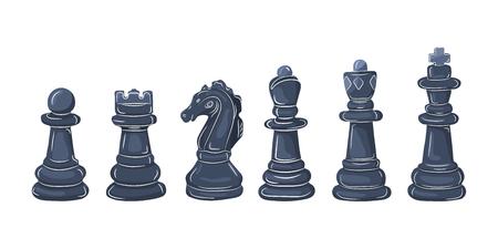 Ensemble de figures d'échecs au design plat. Illustration vectorielle. Pièces d'échecs noir, isolés sur fond blanc Vecteurs