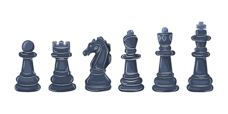 Set of chess figures in flat design. Vector illustration. Black chess pieces, isolated on white background Stock Illustratie