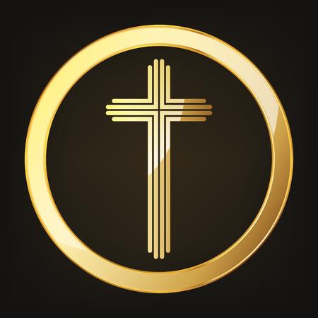 Golden Christian cross in circle vector illustration. Golden Christian cross isolated on dark background.