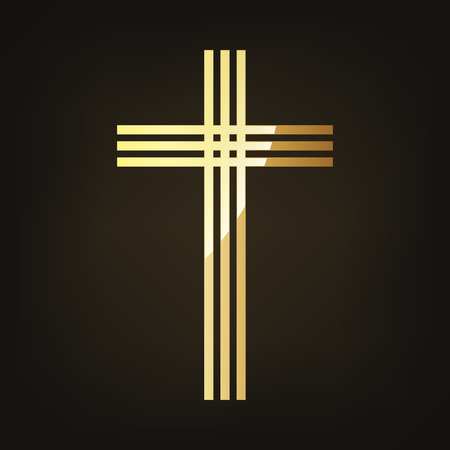 Golden Christian cross icon vector illustration. Golden Christian cross isolated on dark background.