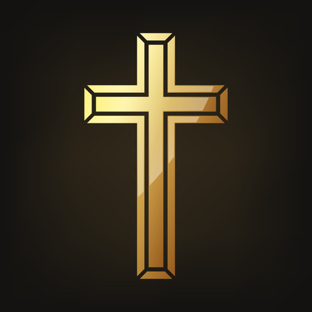 Golden Christian cross isolated on dark background. Foto de archivo - 95808580
