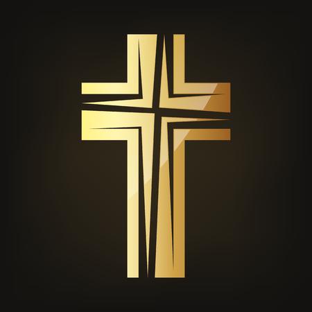 Golden Christian cross icon vector illustration isolated on dark background.