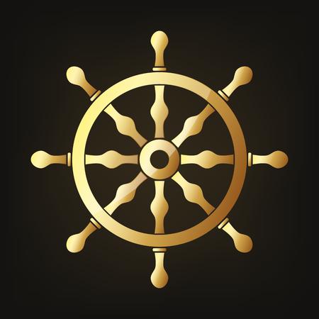Gold steering wheel icon vector illustration. Steering wheel sign on dark background. Vettoriali