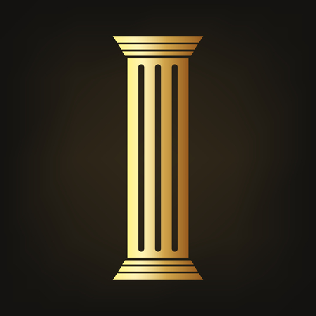 Golden column icon vector illustration. Column on dark background.