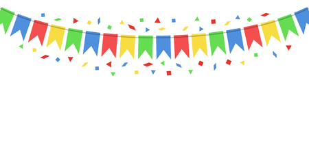 Party background with flags Vector illustration on  Colorful festive hanging garlands