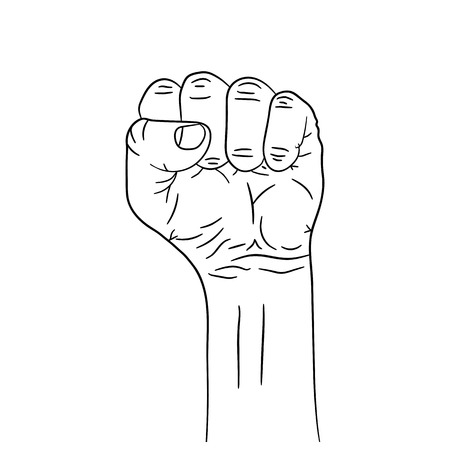Fist icon in flat design vector illustration. Fist up isolated on white background.