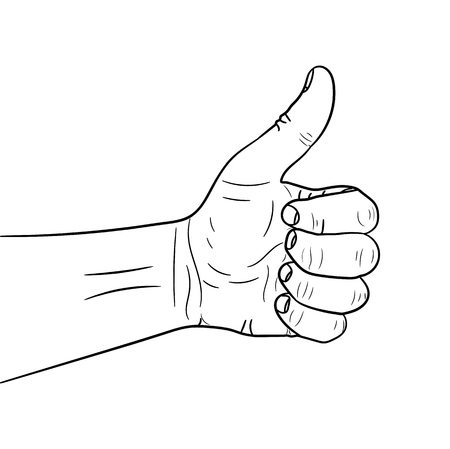 Hand with the thumb lifted up vector illustration. Human hand icon giving okay sign.