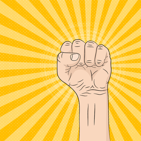 A pop art cartoon fist in flat design vector illustration. Pop art fist up, on bright rays background. 向量圖像