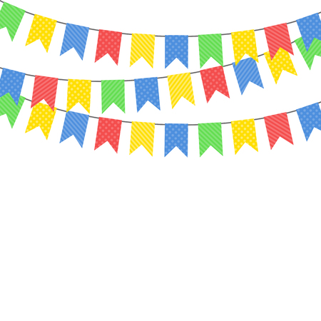 Party background with flags. Vector illustration. Colorful festive hanging garlands