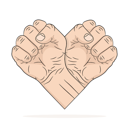 Two Fists in the shape of the heart. Vector illustration. Abstract logo in flat pop art design, on white background Illustration