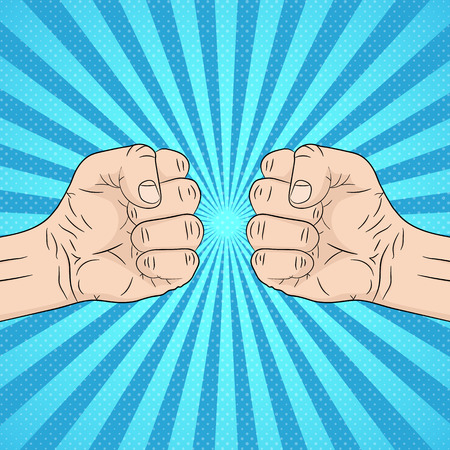 Two clenched fists in conflict. Vector illustration. Concept of aggression and violence, on pop art background