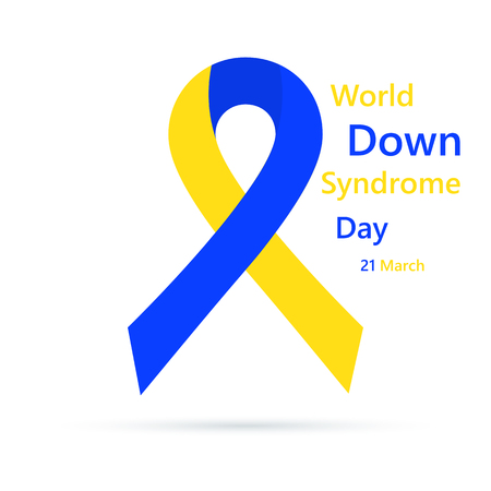 Symbol of world Down Syndrome day. Vector illustration. 21 March. Colored ribbon in flat design isolated.