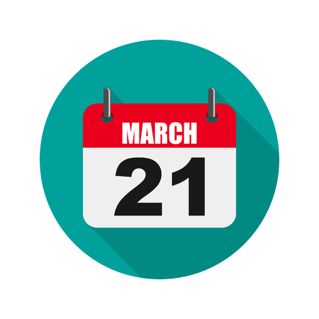 Calendar of world Down Syndrome day. Vector illustration. Calendar for March 21 in flat design. Stock Vector - 97054164