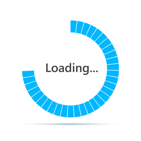 Round Loading bar element icon. Vector illustration. Download sign in flat design, isolated. Illustration