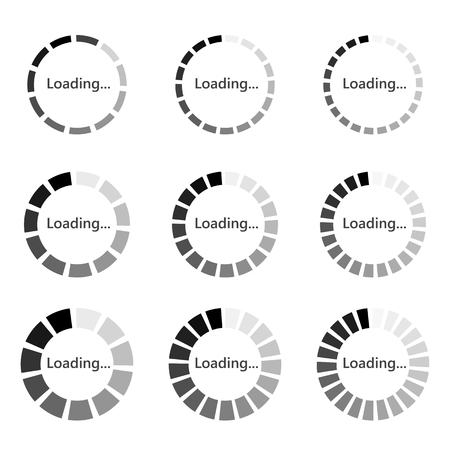 Set of round Loading bar element icons. Vector illustration. Gray download signs in flat design, isolated. Иллюстрация