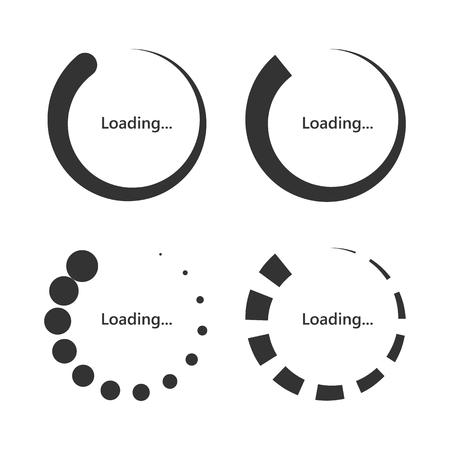 Set of round Loading bar icons. Vector illustration. Download signs in flat design, isolated.