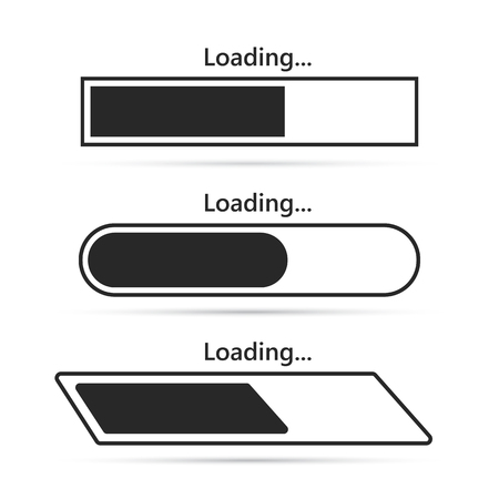 Set of loading bar element icons. Vector illustration. Download sign in flat design, isolated.