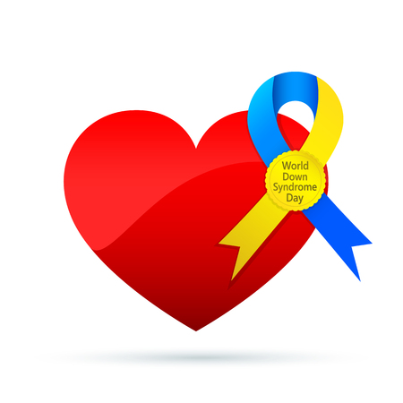 Symbol of the world Down Syndrome day with a red heart. Vector illustration. 21 March. Heart and ribbon isolated. Illustration