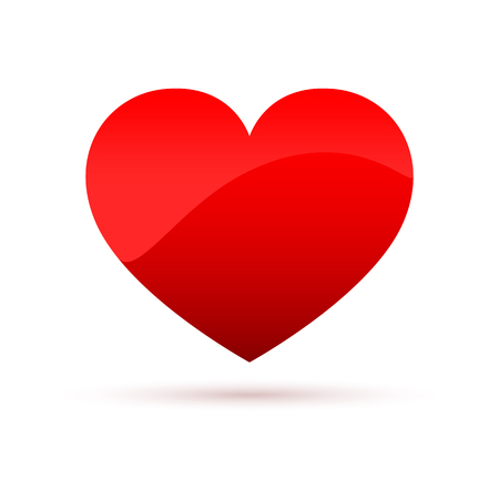 Red heart icon. Vector illustration. Glossy shape of the heart, isolated on white background