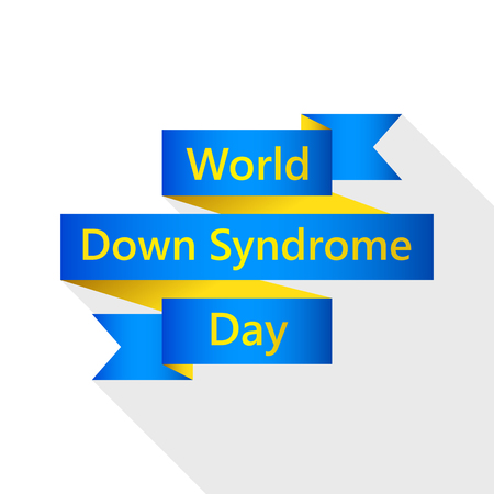 Ribbon for world Down Syndrome day. Vector illustration. 21 March. Ribbon with lettering, isolated. Illustration