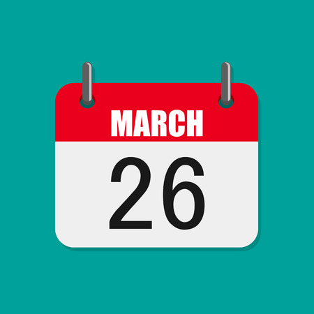 Calendar icon, World Epilepsy day. Vector illustration. Calendar for March 26 in flat design.