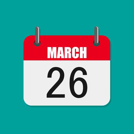 Calendar icon, World Epilepsy day. Vector illustration. Calendar for March 26 in flat design.