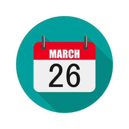 Calendar icon, World Epilepsy day Vector illustration. Calendar for March 26 in flat design.