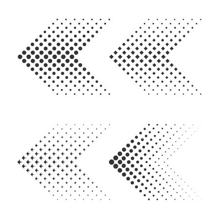 Set of black flat arrows with halftone effect. Vector illustration.