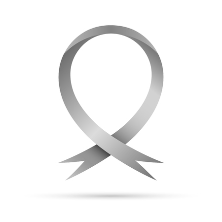 Symbol of the World Parkinsons Day. Vector illustration. Gray awareness ribbon, isolated on white background. Symbol of the brain disorders