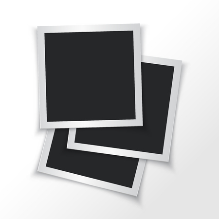 Set of paper photo frames isolated. Vector illustration. Empty photo frames.