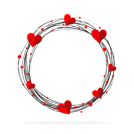 Hand-drawn scribble circle shape with red hearts. Vector illustration.