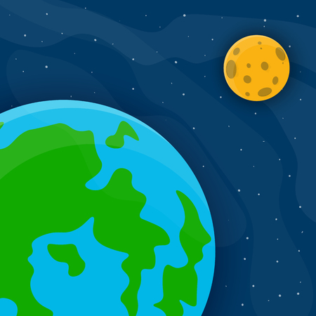 Space pattern with Earth, Moon and stars. Vector illustration. Cartoon space background in flat design.