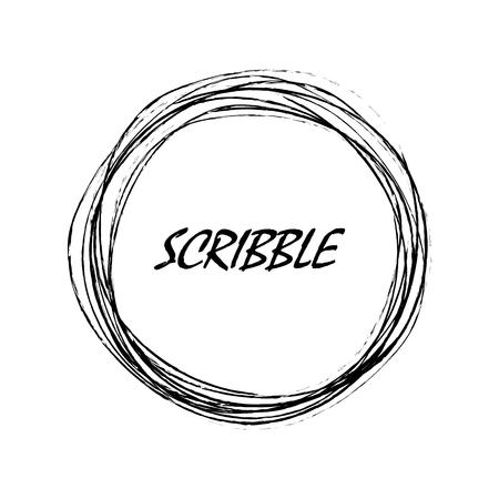 Hand drawn circle shape. Vector illustration. Pencil scribble circle as label or background. Black grunge circle Illustration