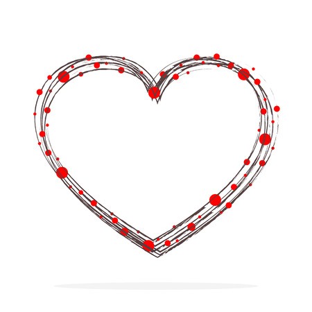 Hand-drawn scribble heart shape with red circles. Vector illustration. Black grunge heart of the Womens Day
