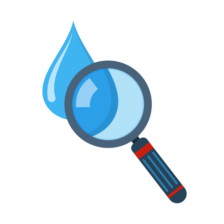 Water drop and magnifying glass in flat design. Vector illustration. Drop and magnifying glass symbol, isolated on white background Illustration
