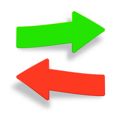 Set of green and red arrow icons with shadow.