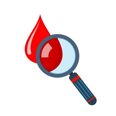 Hematology concept with a drop of blood and magnifying glass in flat design. Vector illustration. A drop and magnifying glass symbol, isolated on white background Illustration