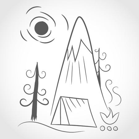 Mountains, tent and bonfire in flat linear design. Camping concept. Vector illustration. Travel and Tourism concept. Illustration